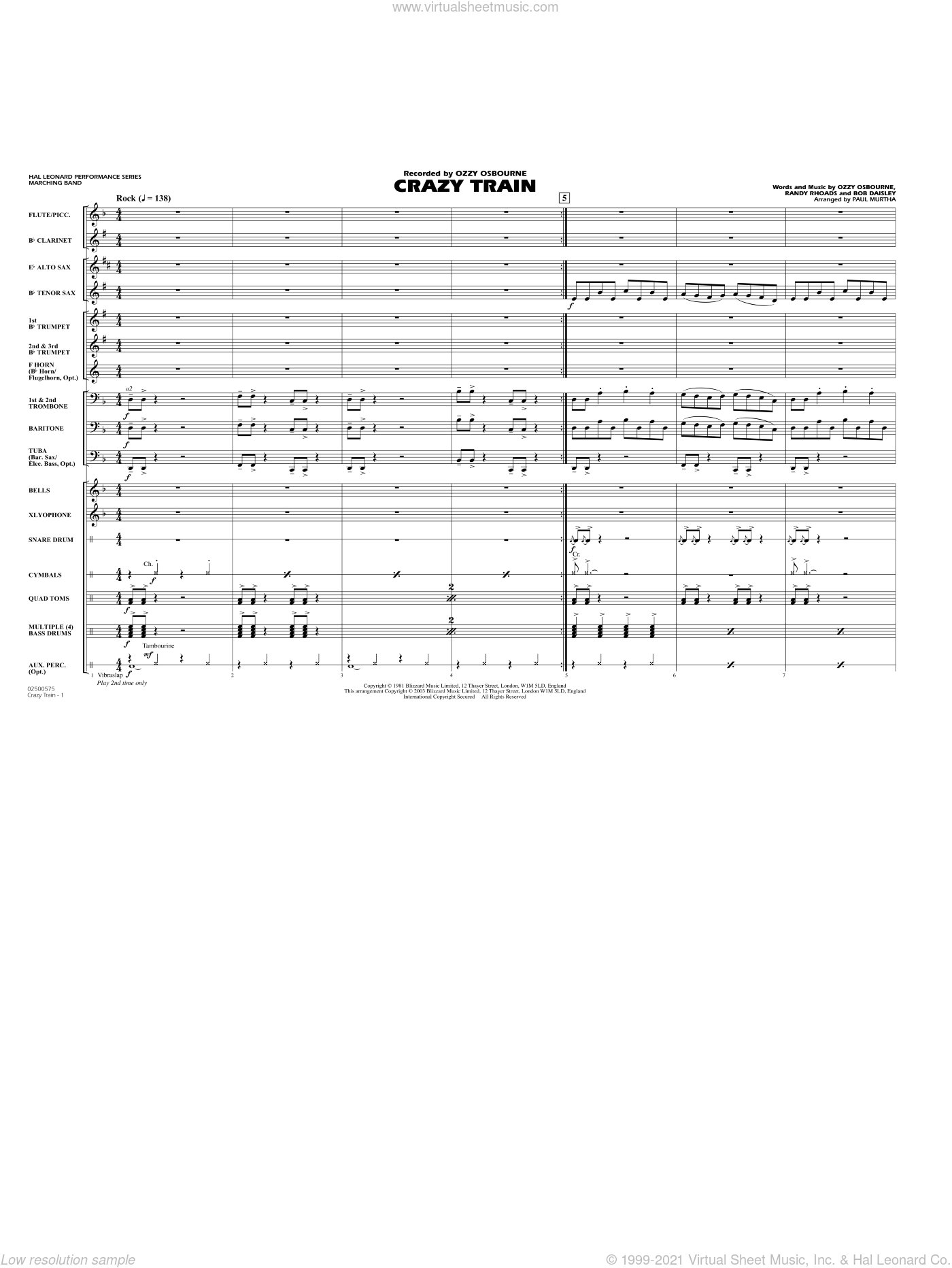 Crazy Train sheet music for marching band (full score) by Bob Daisley