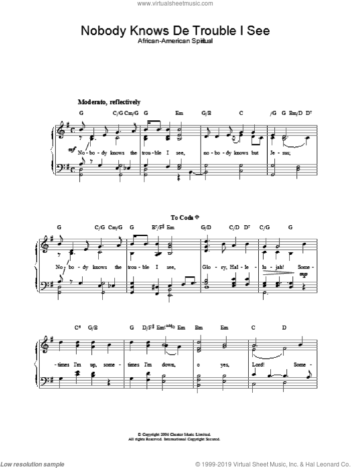 Nobody Knows De Trouble I See sheet music for piano solo, easy piano. Score Image Preview.