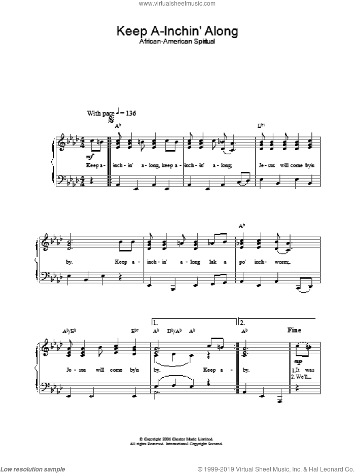 Keep A-Inchin' Along sheet music for piano solo. Score Image Preview.