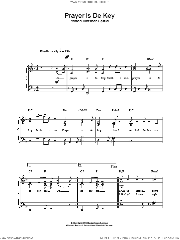 Prayer Is De Key sheet music for piano solo. Score Image Preview.