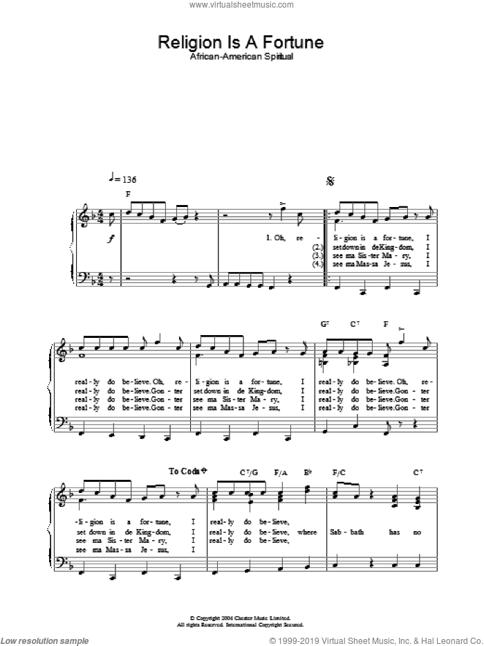 Religion Is A Fortune sheet music for piano solo, easy