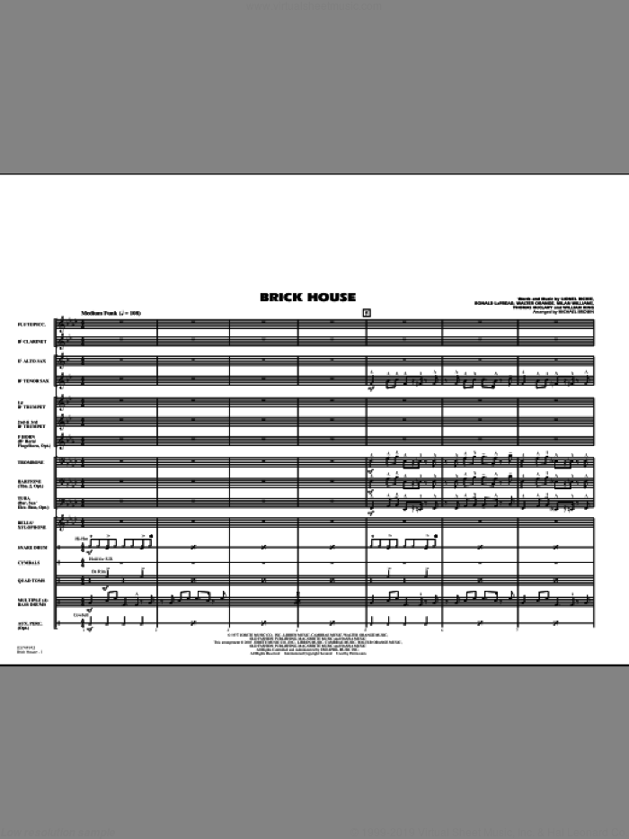 Brick House (COMPLETE) sheet music for marching band by Lionel Richie, Michael Brown and The Commodores, intermediate. Score Image Preview.