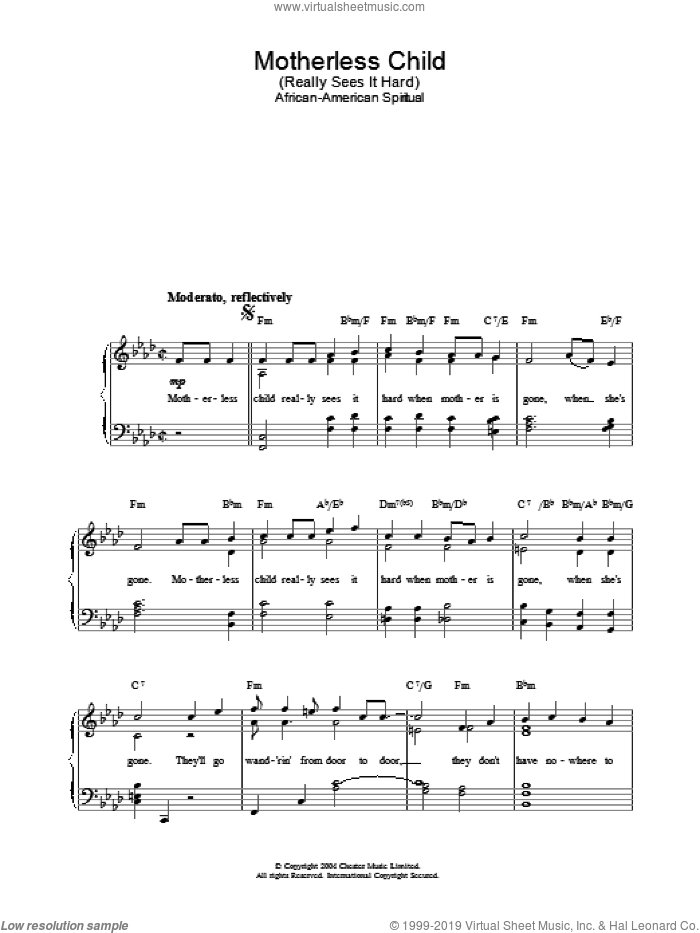 Motherless Child sheet music for piano solo. Score Image Preview.