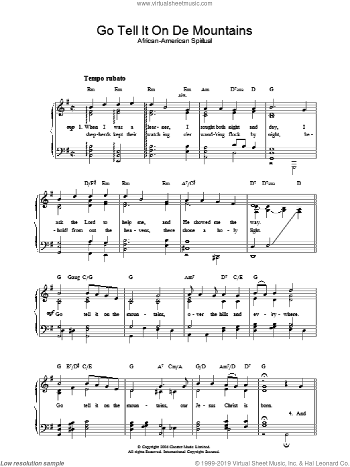 Go Tell It On De Mountains sheet music for piano solo, Christmas carol score, easy piano. Score Image Preview.