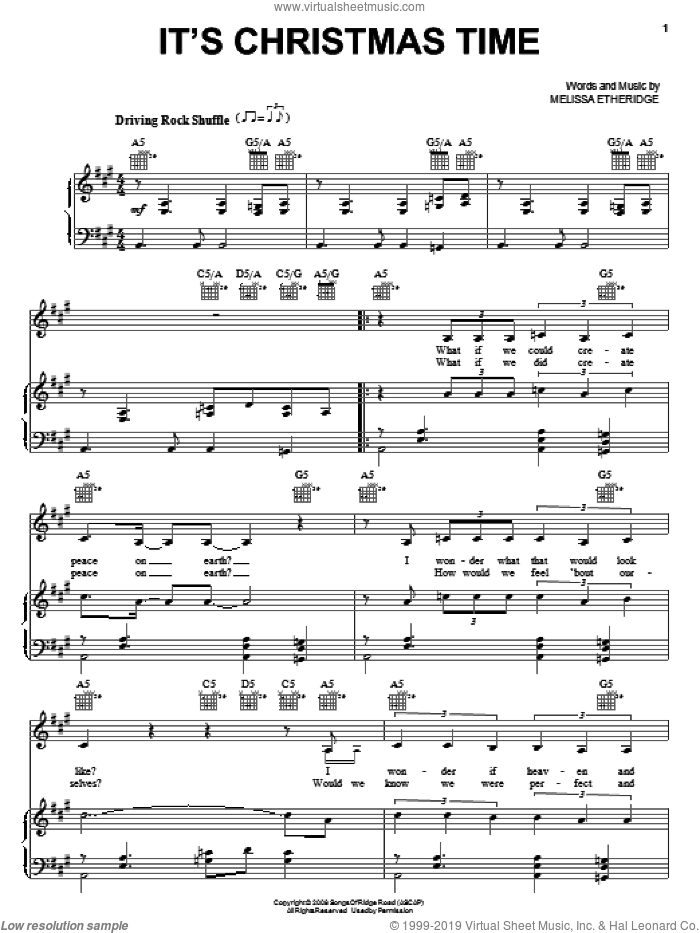 It's Christmas Time sheet music for voice, piano or guitar by Melissa Etheridge, intermediate skill level