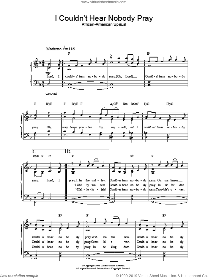 I Couldn't Hear Nobody Pray sheet music for piano solo. Score Image Preview.