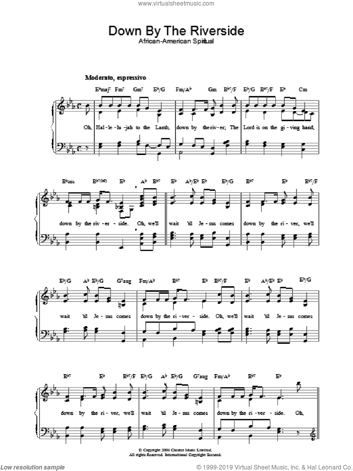 Down By The Riverside sheet music for piano solo, easy. Score Image Preview.