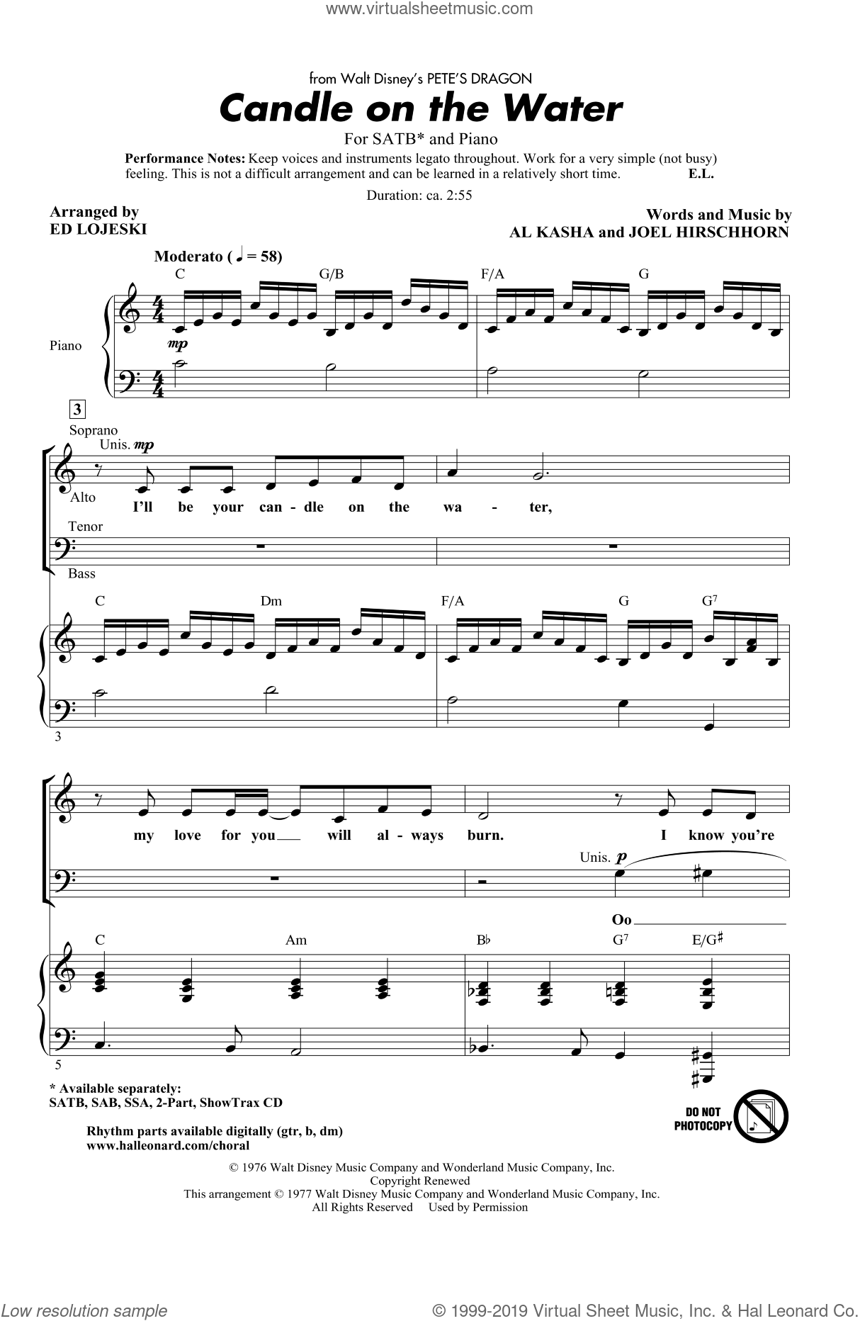 Candle On The Water sheet music for choir and piano (SATB) by Al Kasha