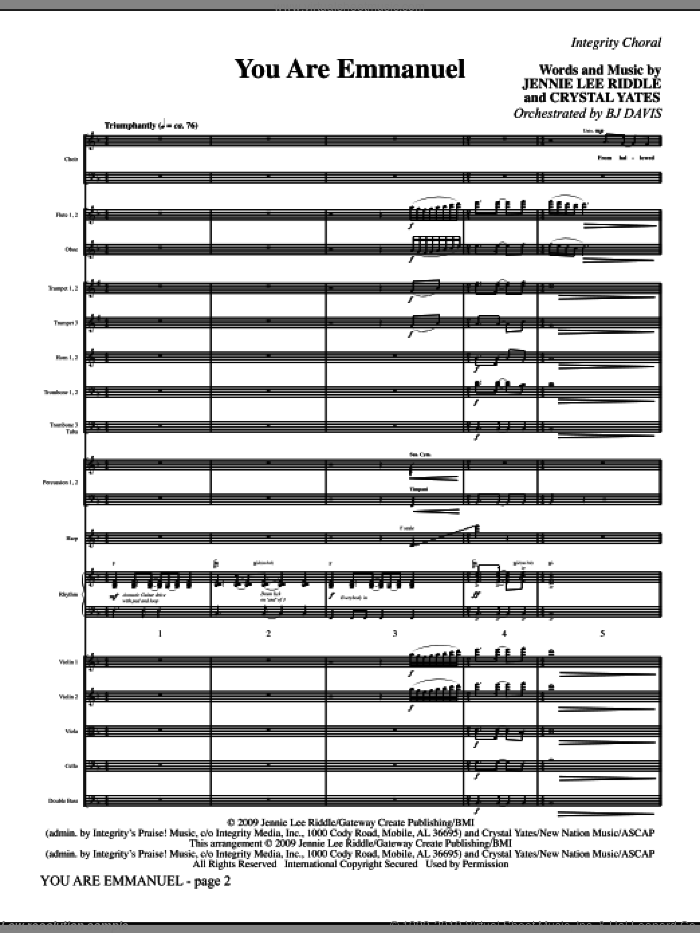 You Are Emmanuel (COMPLETE) sheet music for orchestra/band (Orchestra) by Jennie Lee Riddle, Crystal Yates and BJ Davis, intermediate skill level