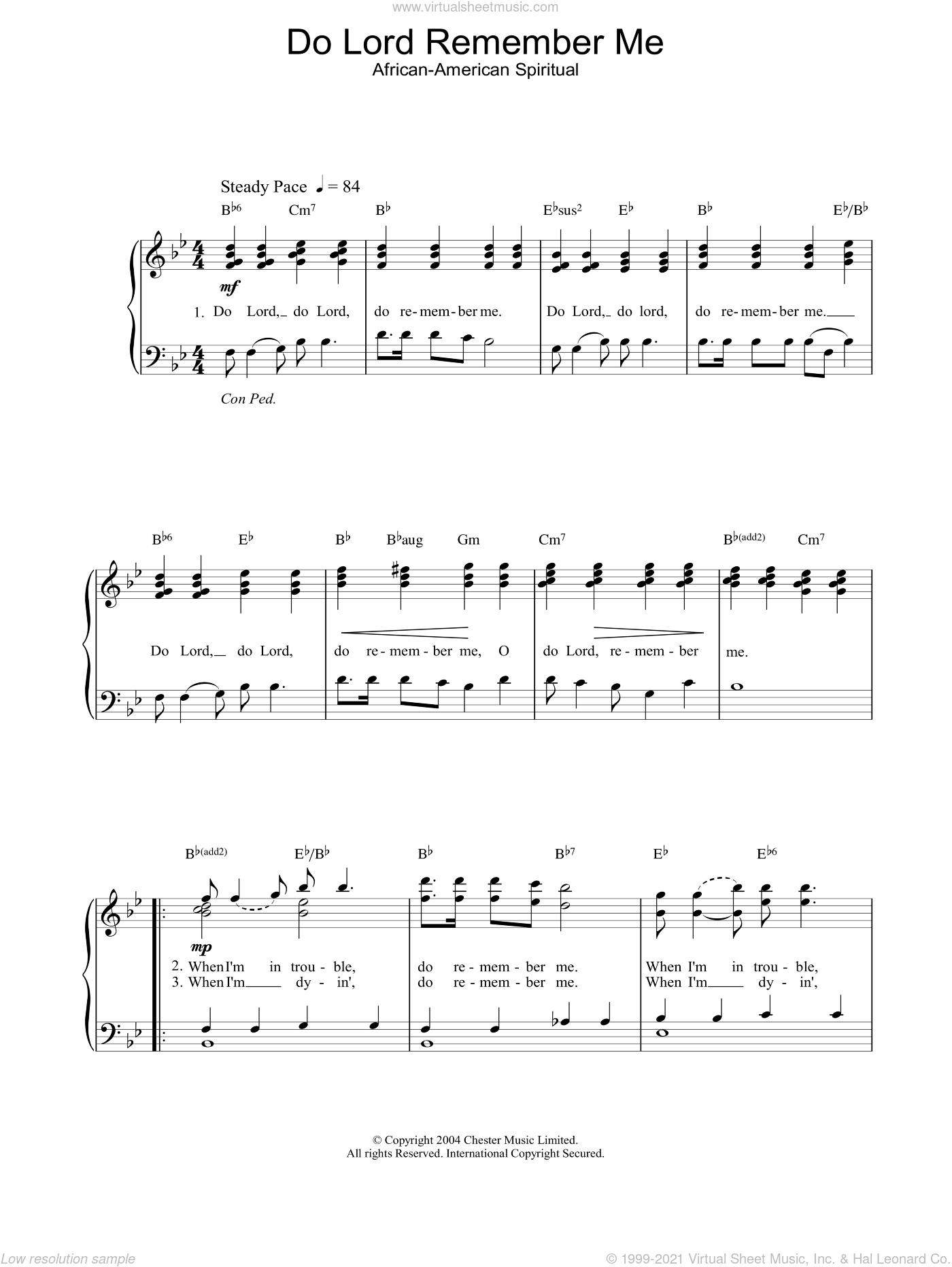 Do Lord Remember Me sheet music for piano solo, easy. Score Image Preview.