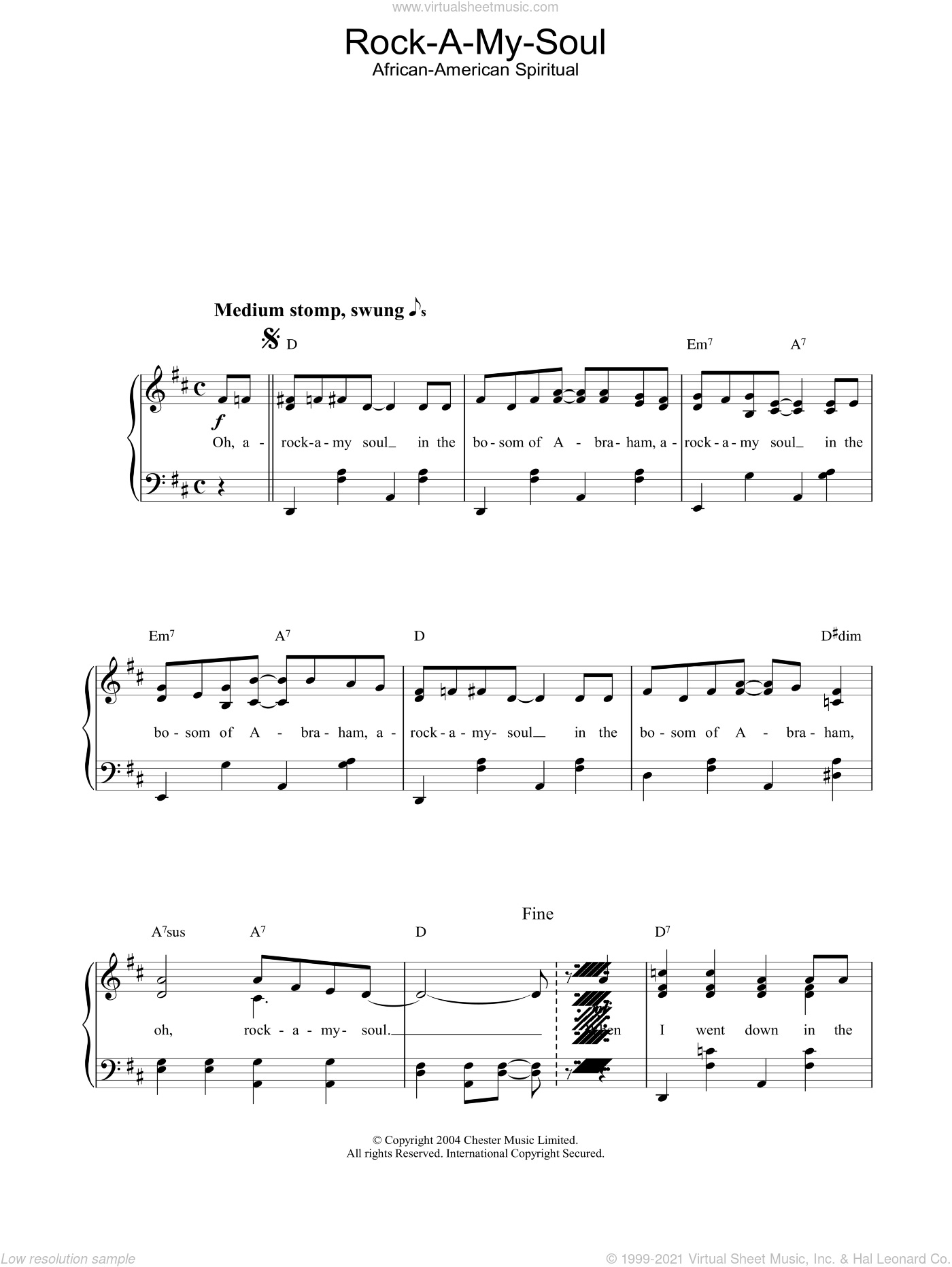 Rock A My Soul sheet music for piano solo. Score Image Preview.
