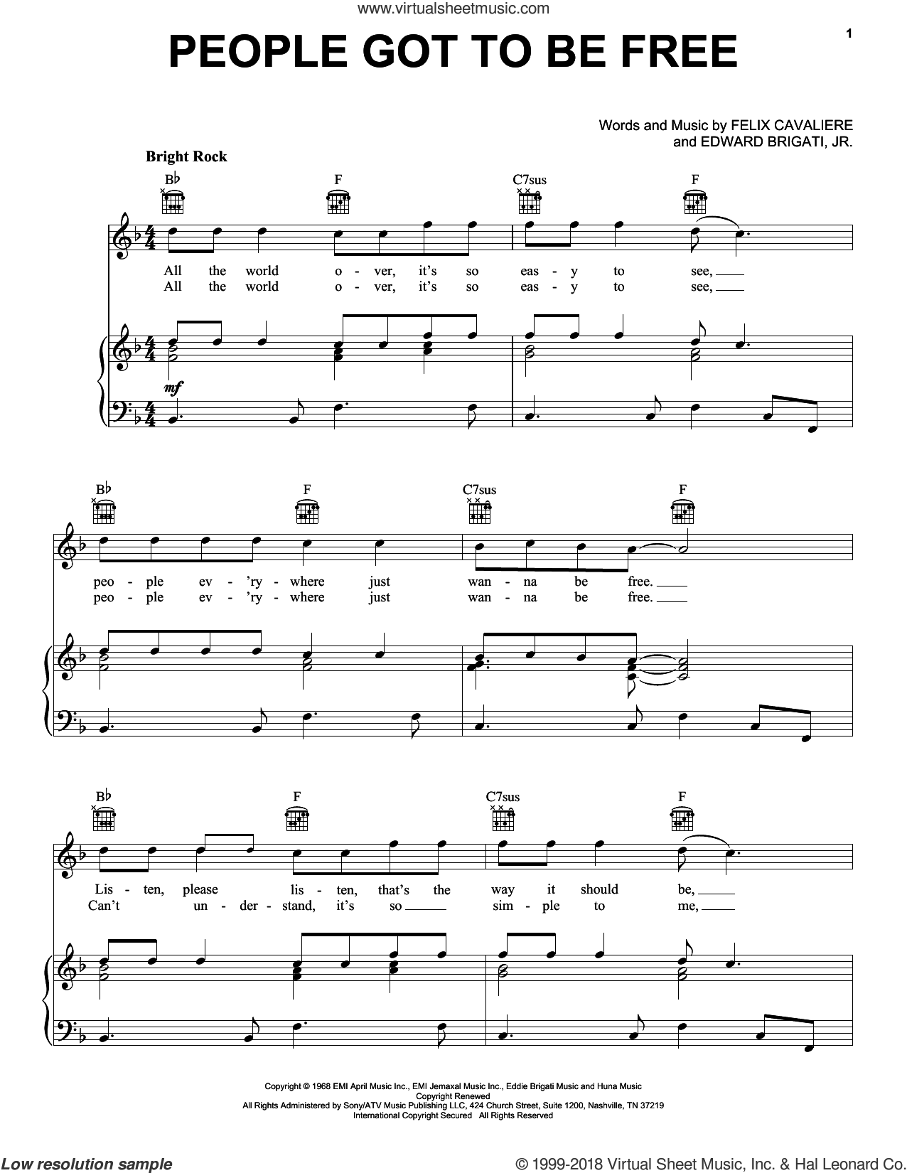People Got To Be Free sheet music for voice, piano or guitar by Felix Cavaliere, The Rascals and Edward Brigati Jr.. Score Image Preview.