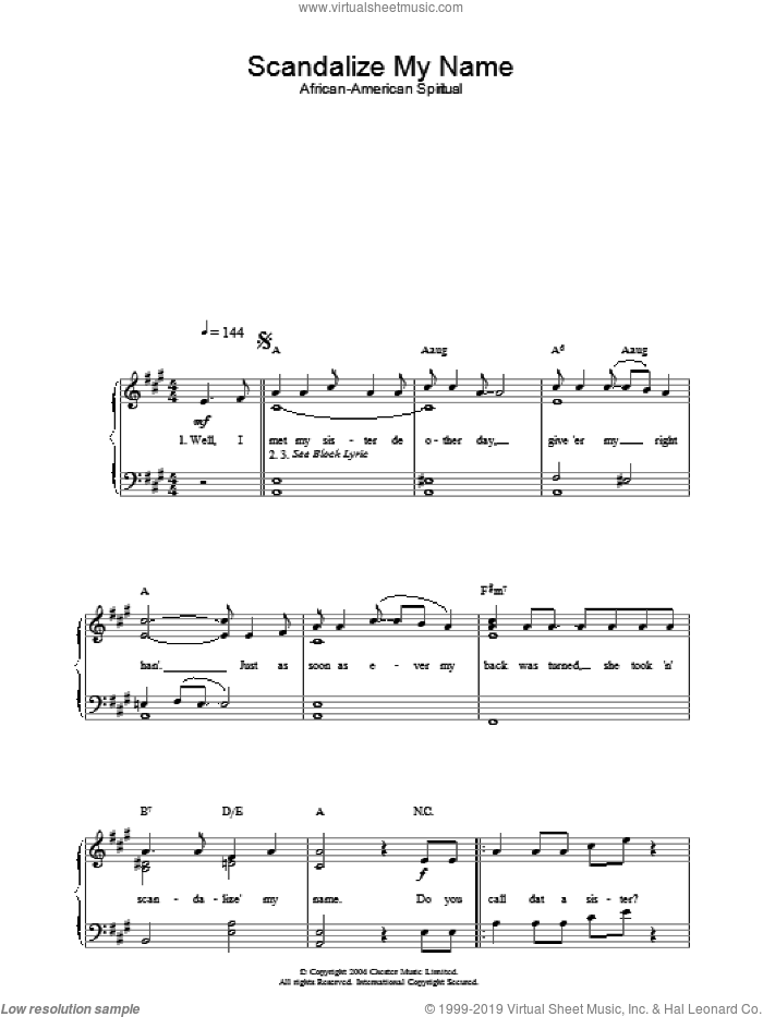 Scandalize My Name sheet music for piano solo, easy skill level