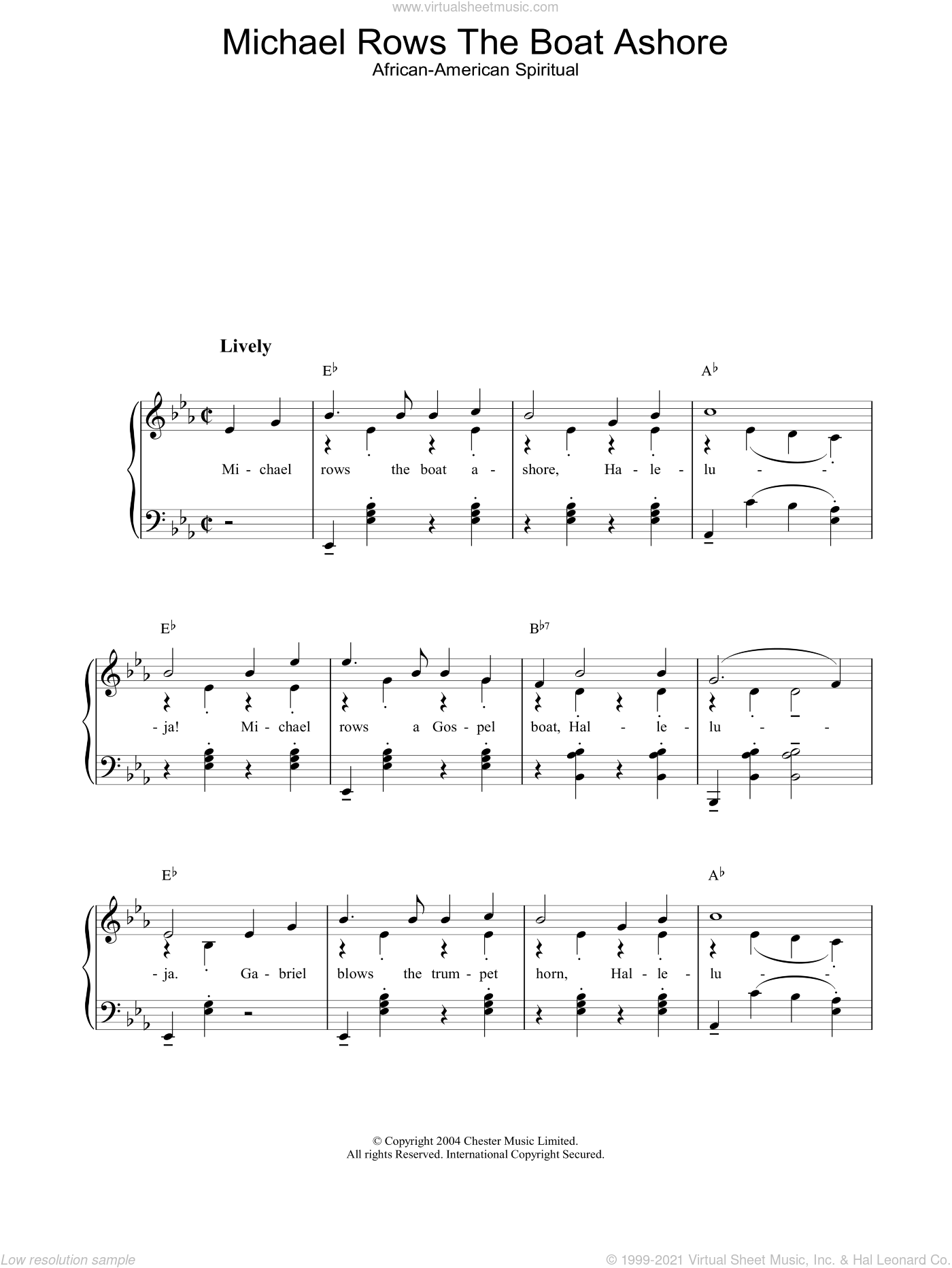 Michael Rows The Boat Ashore sheet music for piano solo. Score Image Preview.