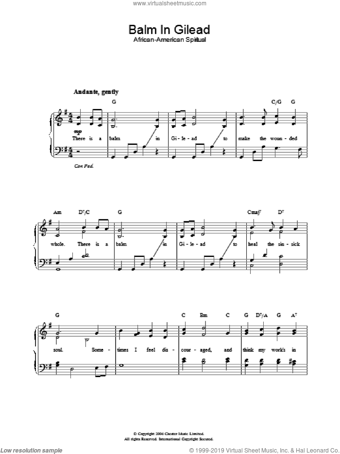 Balm In Gilead sheet music for piano solo. Score Image Preview.