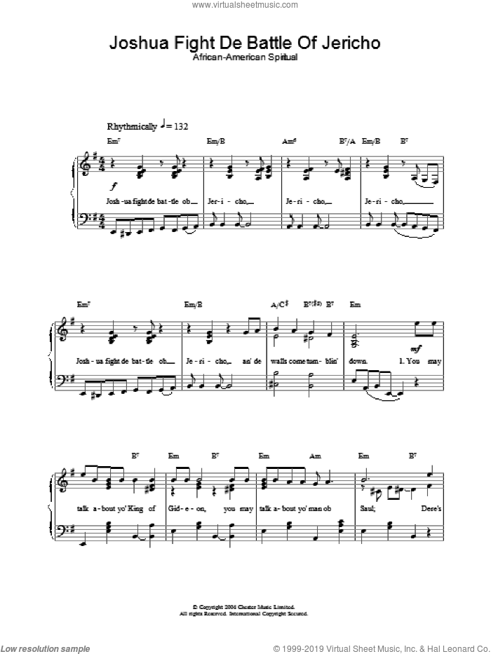 Joshua Fight De Battle Of Jericho sheet music for piano solo, easy. Score Image Preview.