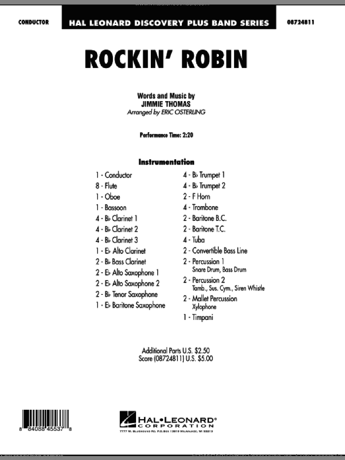 Rockin' Robin (COMPLETE) sheet music for concert band by Eric Osterling, Jimmie Thomas, Bobby Day and Michael Jackson, intermediate. Score Image Preview.
