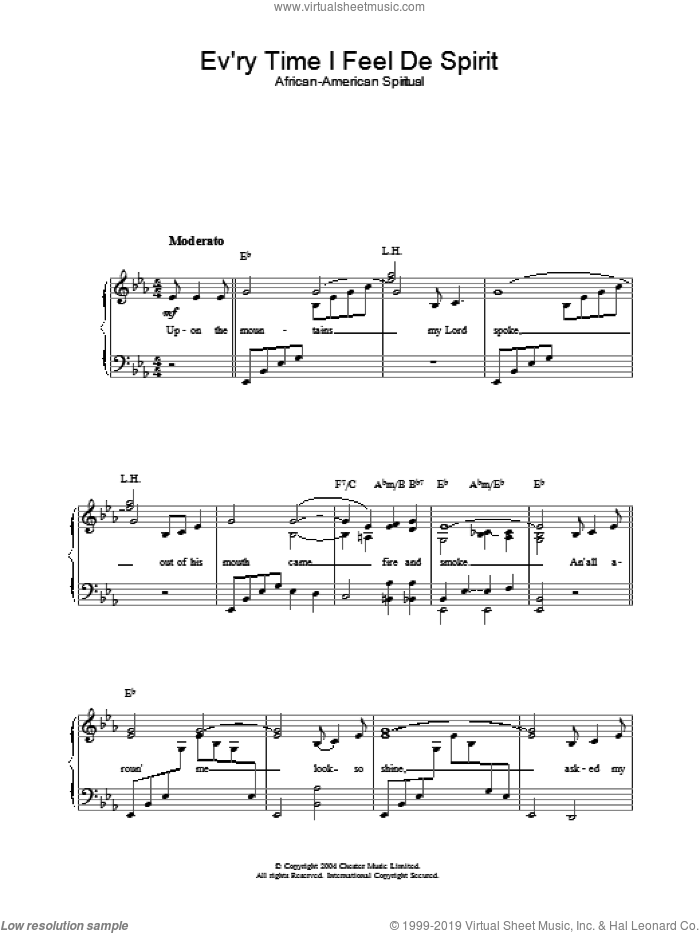 Ev'ry Time I Feel De Spirit sheet music for piano solo. Score Image Preview.