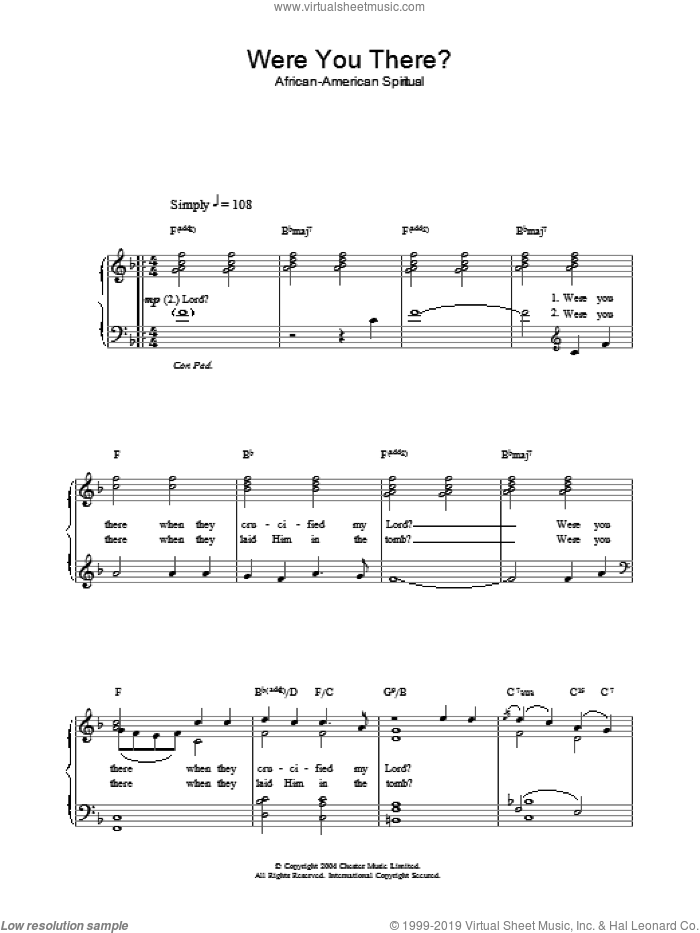 Were You There? sheet music for piano solo. Score Image Preview.