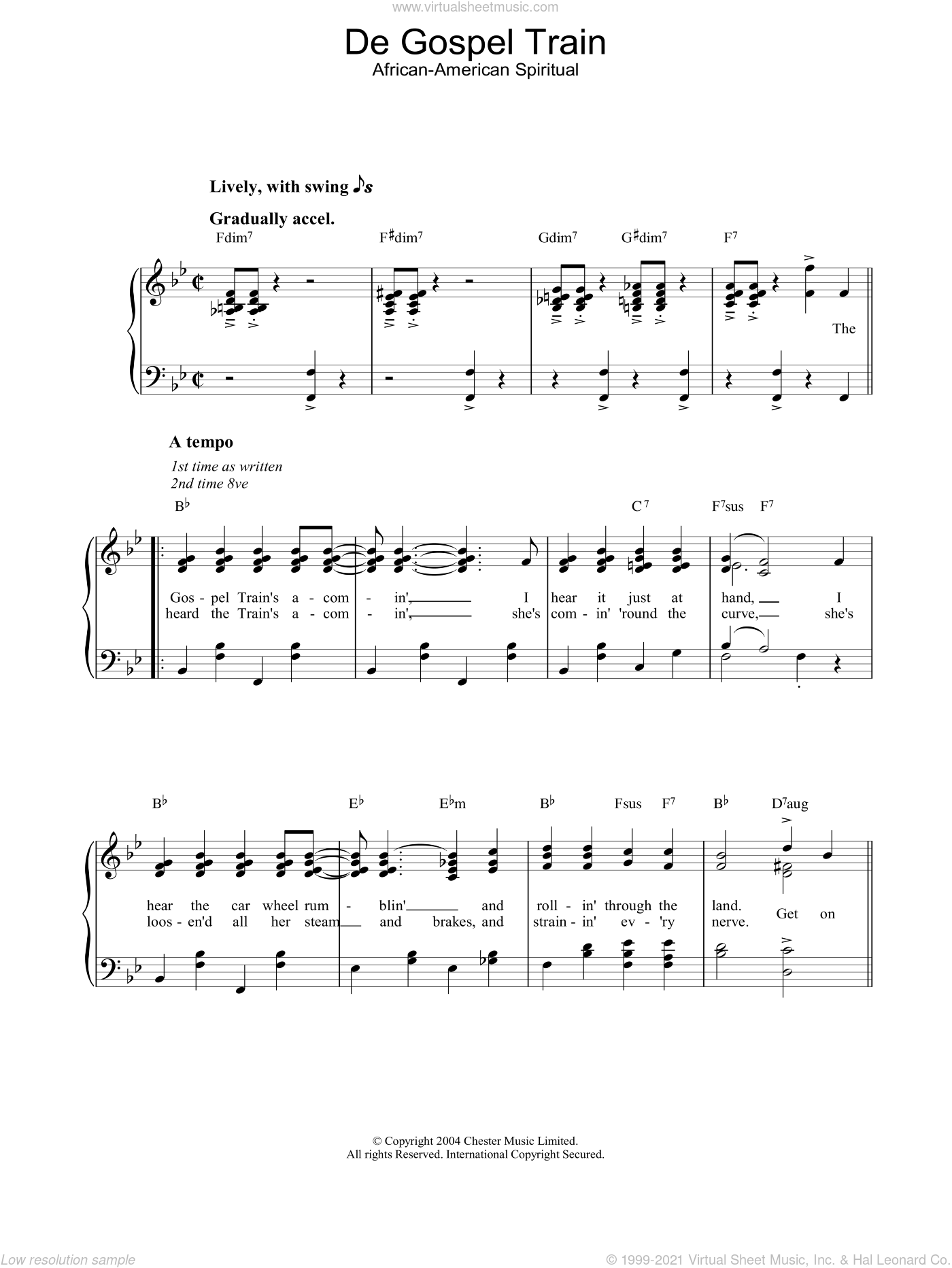 De Gospel Train sheet music for piano solo, easy skill level