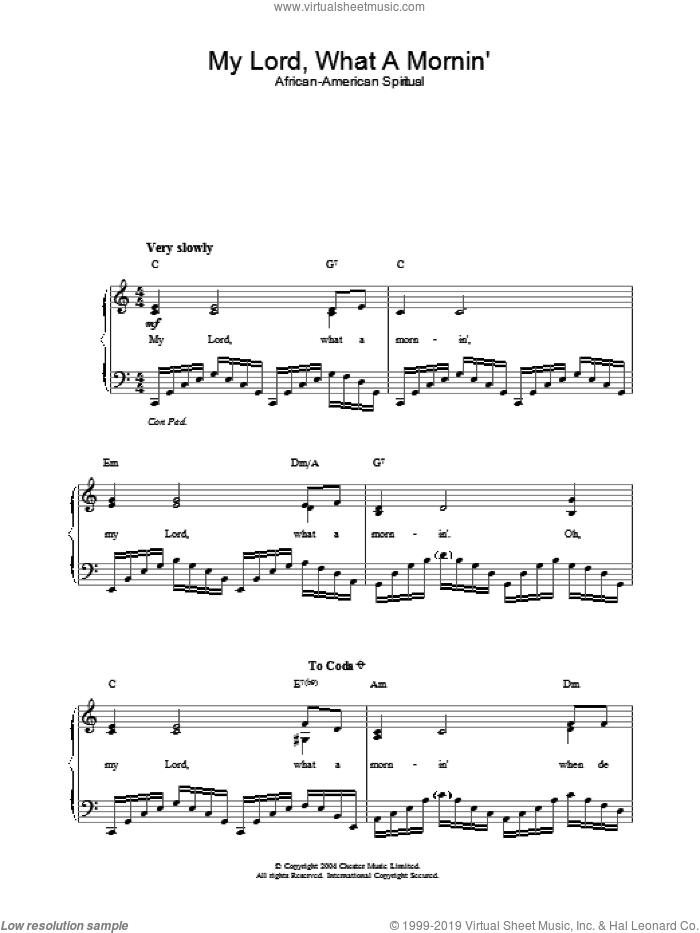 My Lord, What A Mornin' sheet music for piano solo, easy skill level