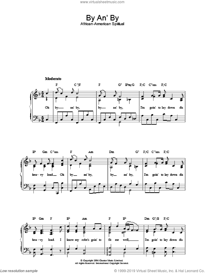 By An' By sheet music for piano solo. Score Image Preview.