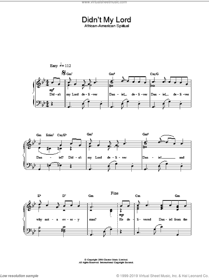 Didn't My Lord sheet music for piano solo. Score Image Preview.