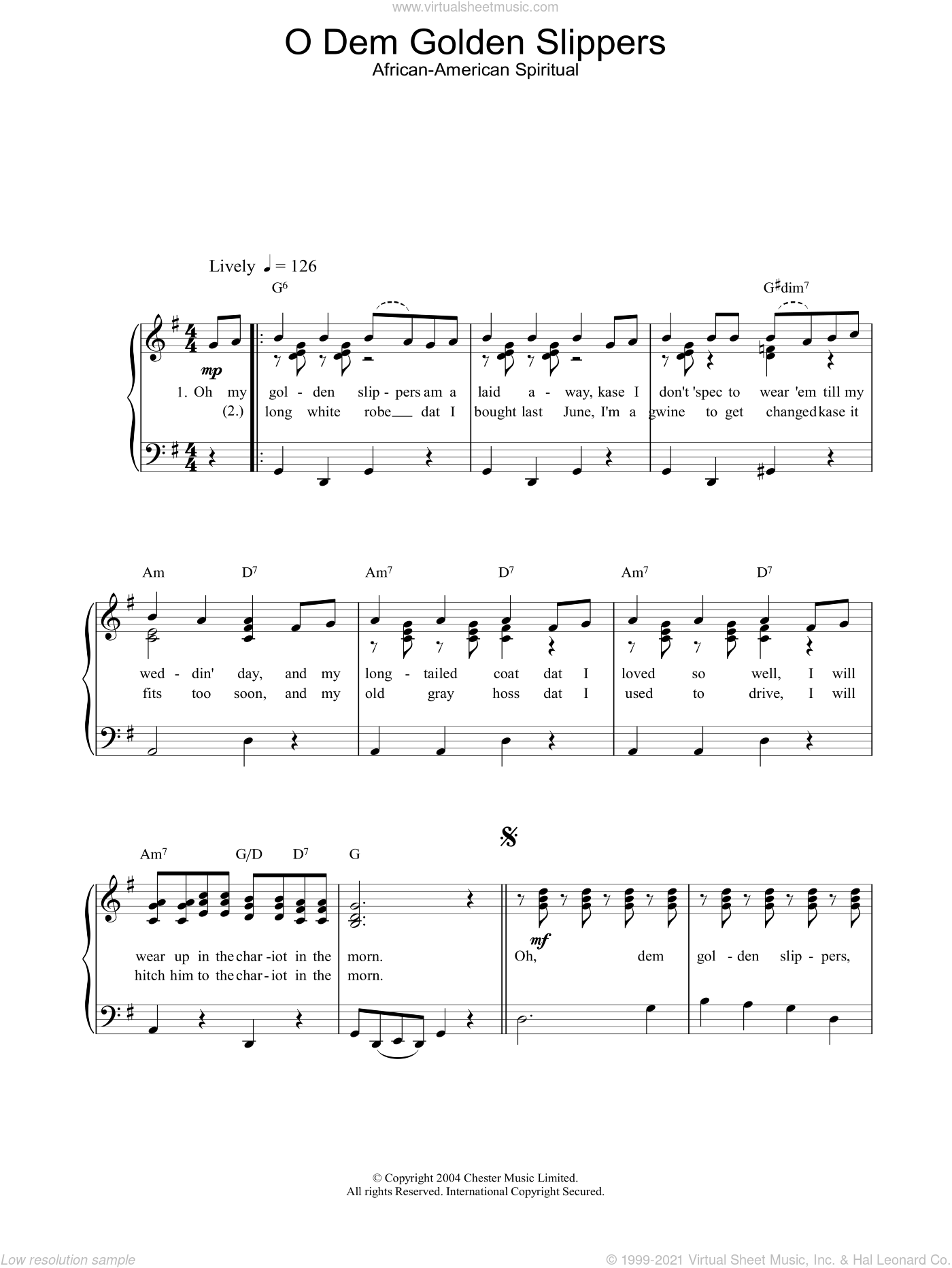 O Dem Golden Slippers sheet music for piano solo, easy skill level