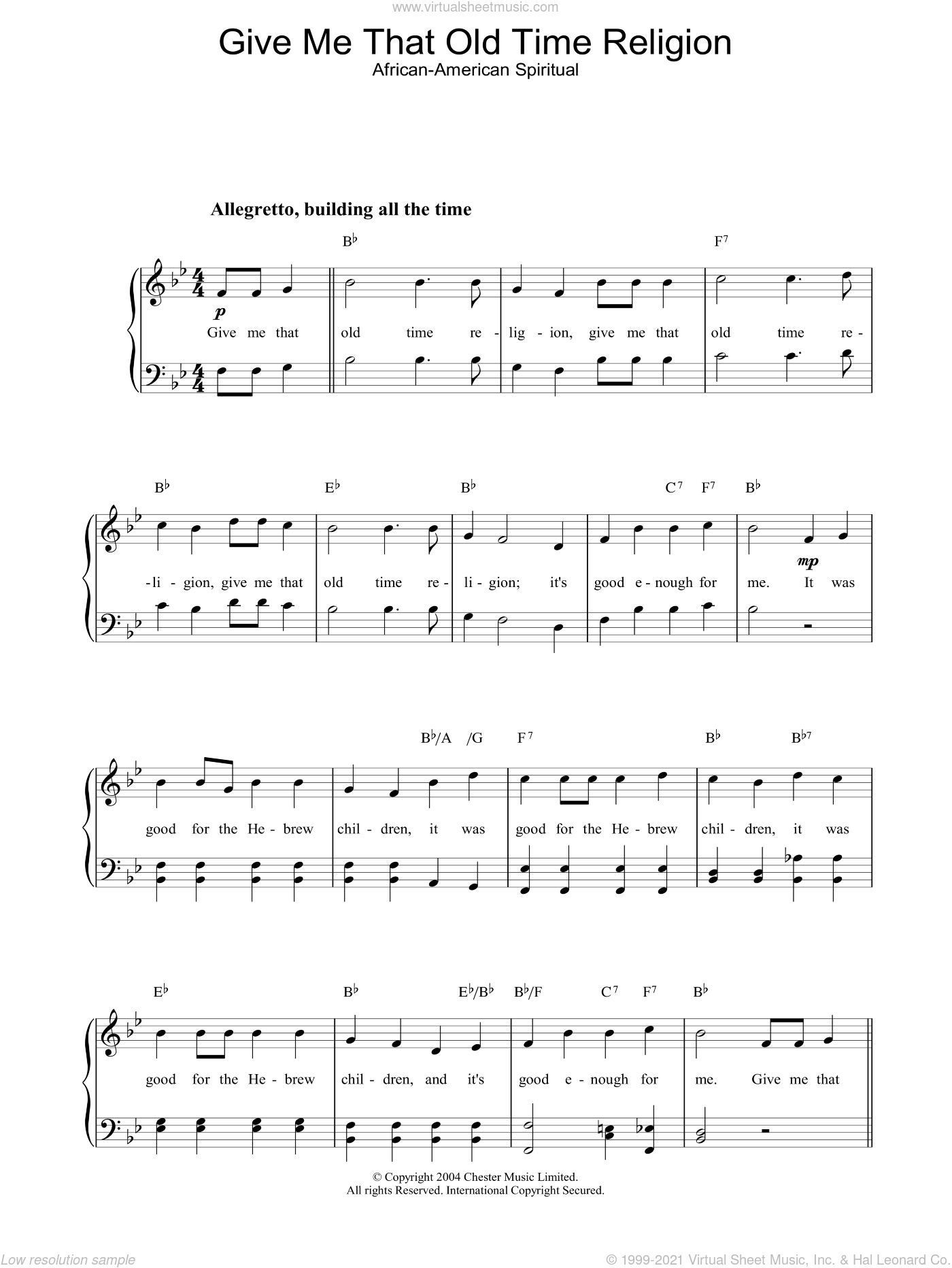 Give Me That Old Time Religion sheet music for piano solo. Score Image Preview.