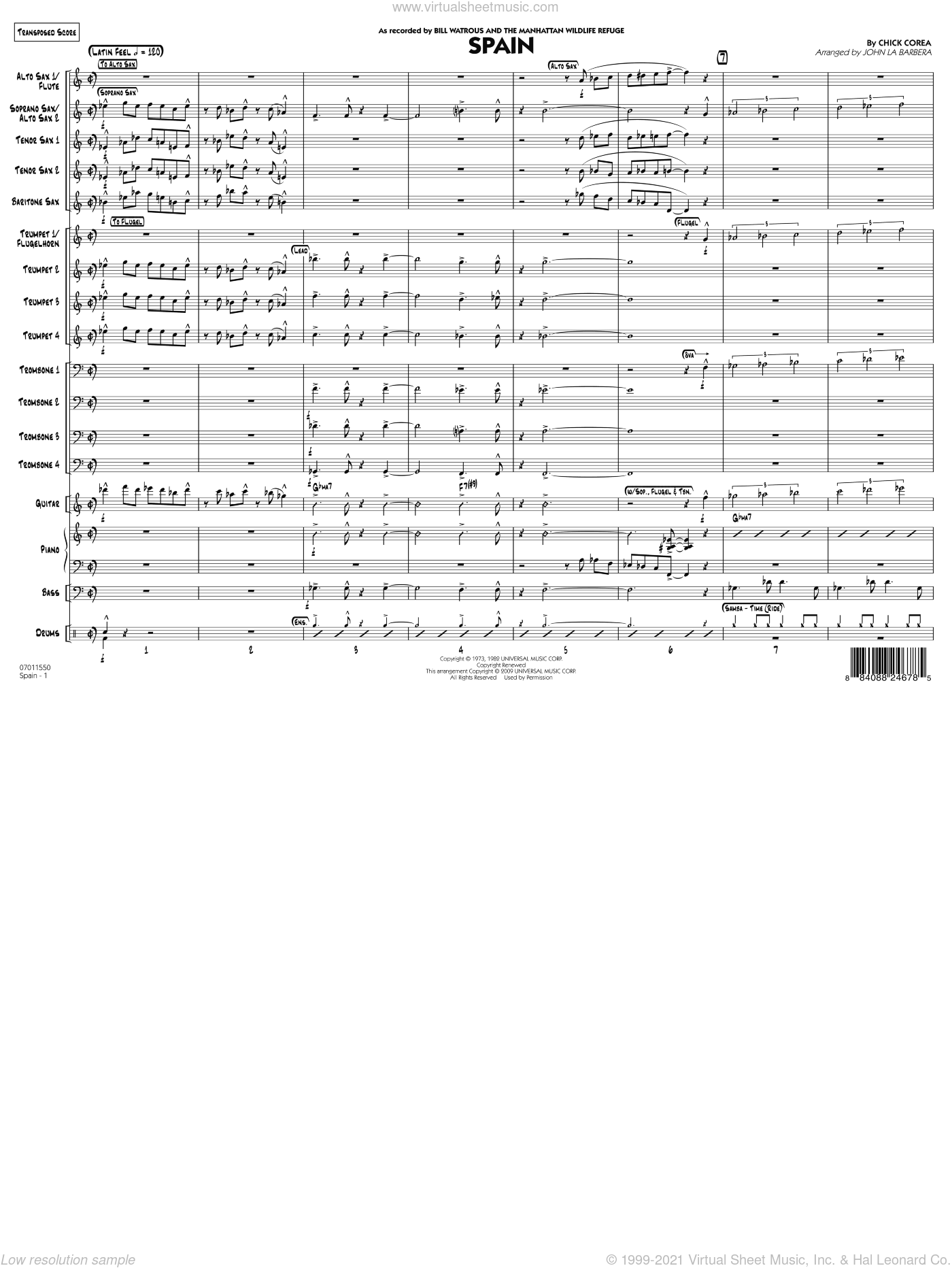 Spain, complete collection sheet music for jazz band (full score) by John La Barbera