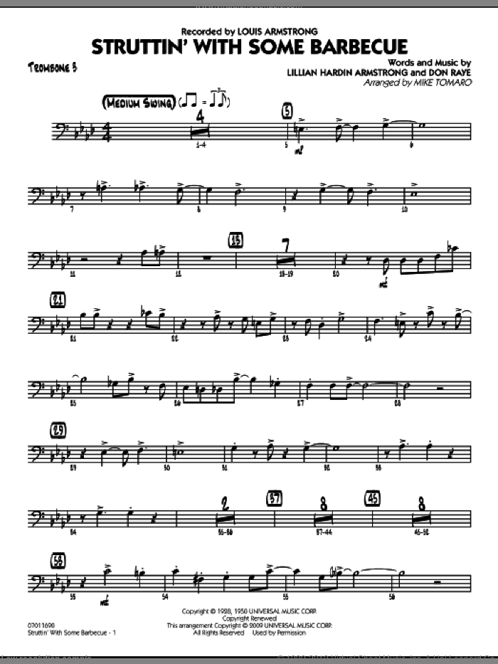 Struttin' with Some Barbecue sheet music for jazz band (trombone 3) by Don Raye