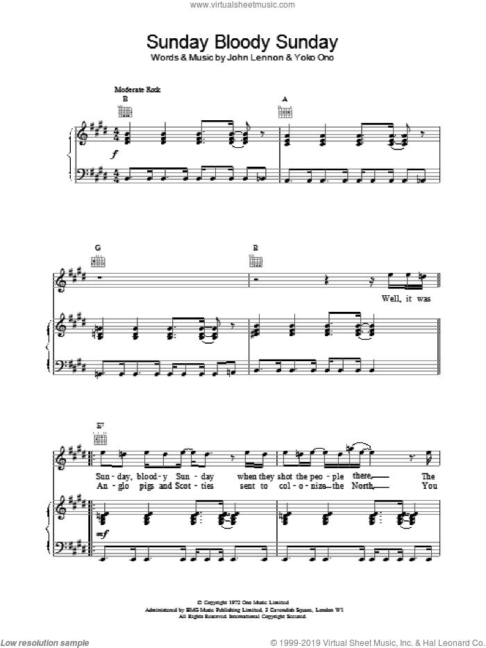 Sunday Bloody Sunday sheet music for voice, piano or guitar by John Lennon and Yoko Ono, intermediate skill level