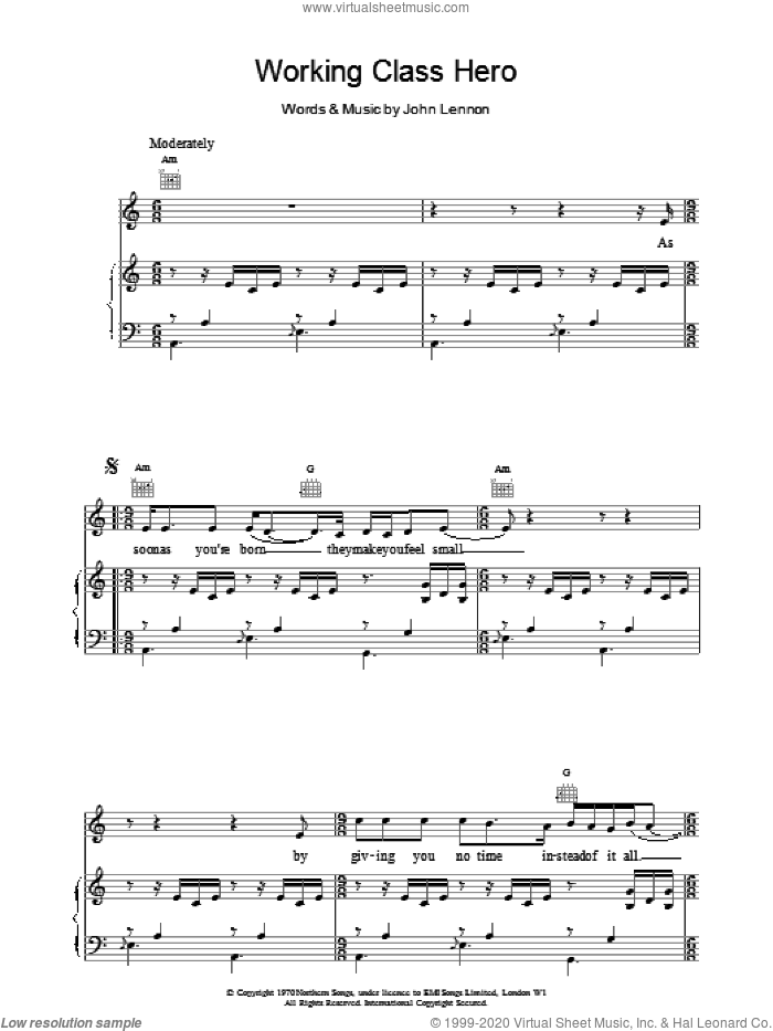 Working Class Hero sheet music for voice, piano or guitar by John Lennon, intermediate skill level