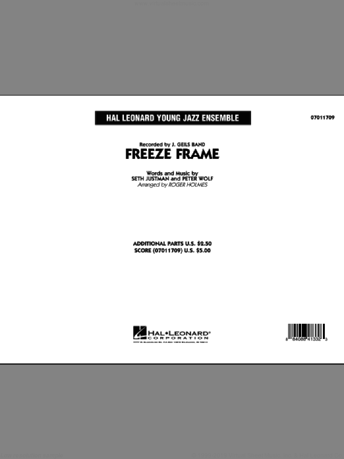 Freeze Frame (COMPLETE) sheet music for jazz band by Roger Holmes, Peter Wolf and J. Geils Band, intermediate. Score Image Preview.