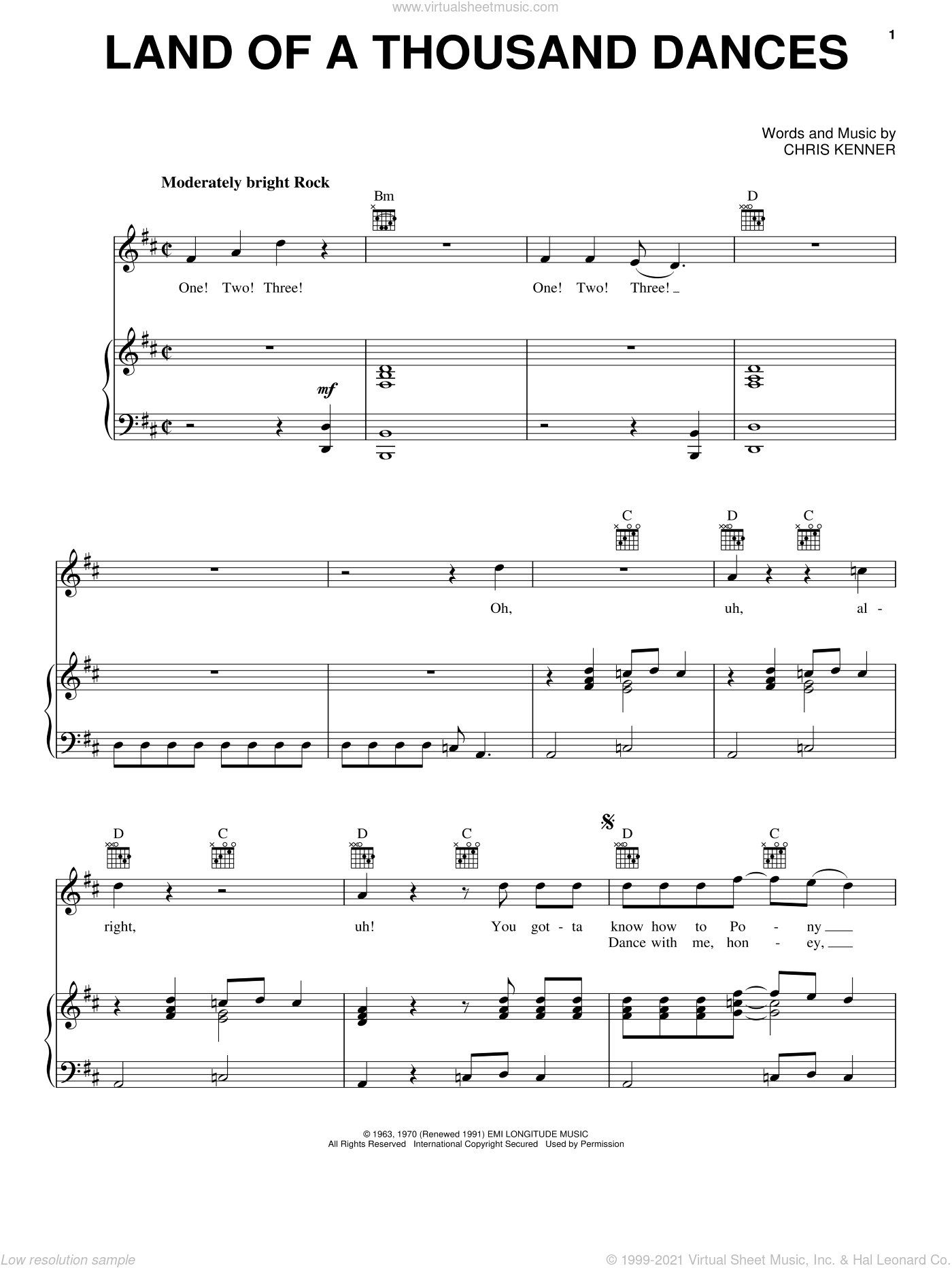 Land Of A Thousand Dances sheet music for voice, piano or guitar by Wilson Pickett and Chris Kenner, intermediate. Score Image Preview.
