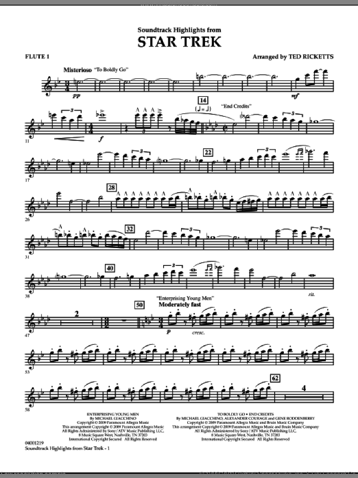 Star Trek, soundtrack highlights sheet music for concert band (flute 1) by Michael Giacchino