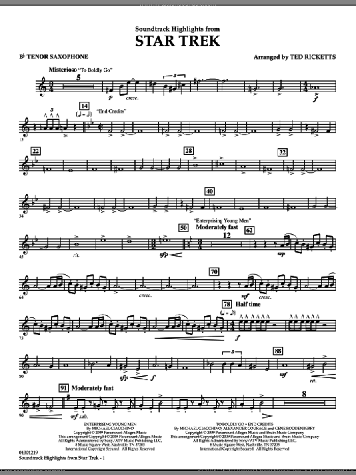 Star Trek, soundtrack highlights sheet music for concert band (Bb tenor saxophone) by Michael Giacchino