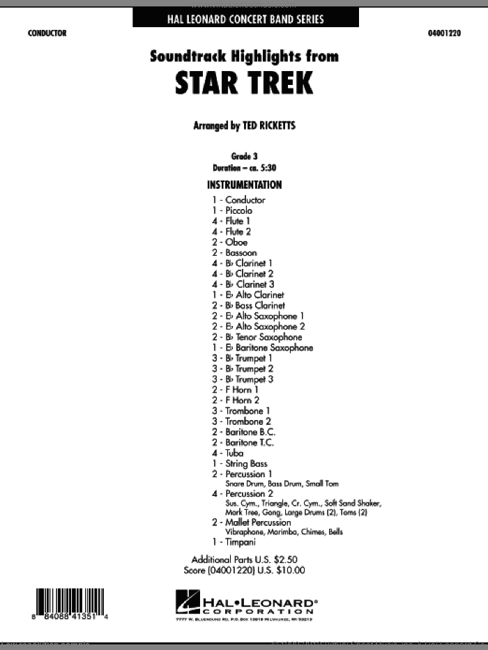 Star Trek - Soundtrack Highlights (COMPLETE) sheet music for concert band by Michael Giacchino and Ted Ricketts, intermediate