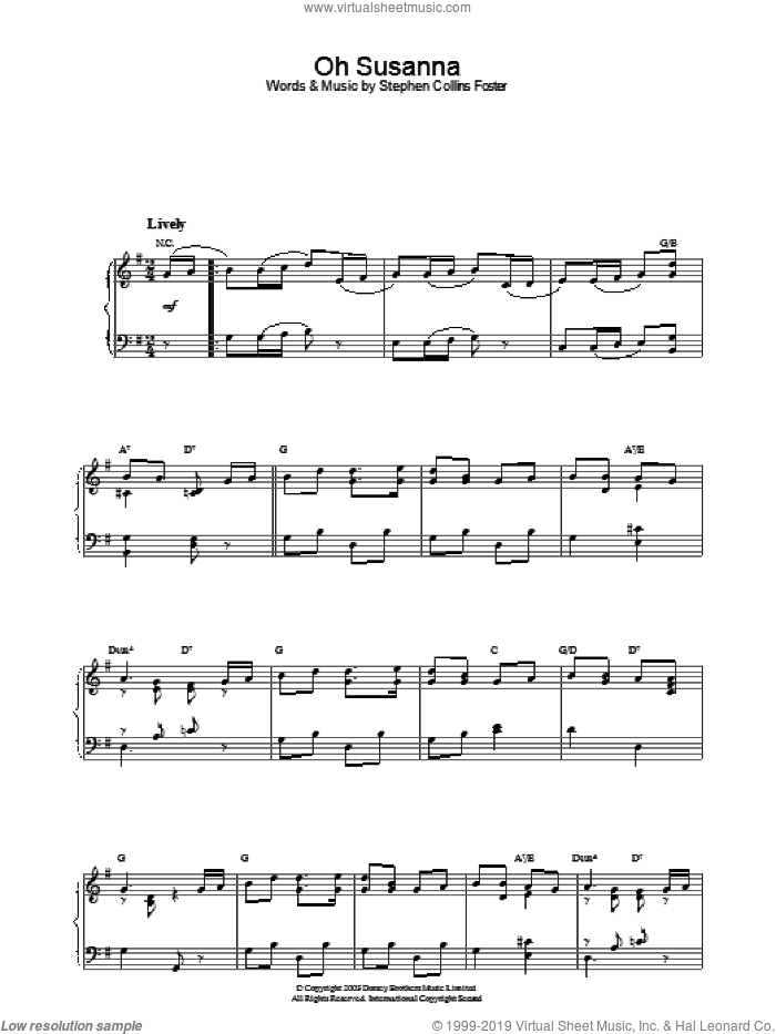 Oh! Susanna sheet music for piano solo by Stephen Foster. Score Image Preview.