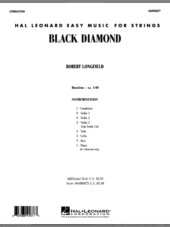 Black Diamond sheet music for orchestra (full score) by Robert Longfield