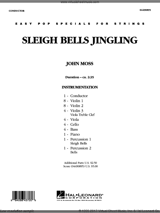 Sleigh Bells Jingling (COMPLETE) sheet music for orchestra by John Moss
