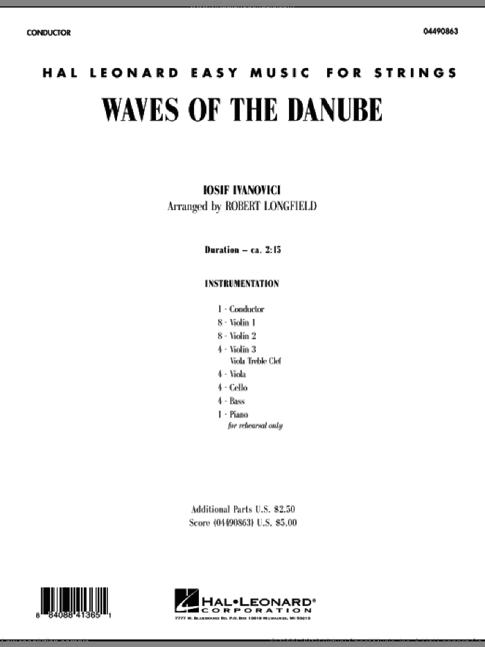 Waves of the Danube (COMPLETE) sheet music for orchestra by Iosif Ivanovici and Robert Longfield, classical score, intermediate. Score Image Preview.