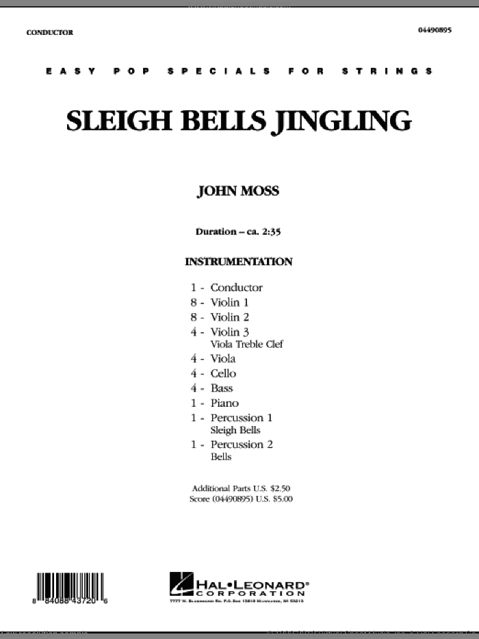 Sleigh Bells Jingling (COMPLETE) sheet music for orchestra by John Moss, intermediate. Score Image Preview.