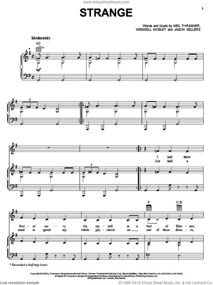 Strange sheet music for voice, piano or guitar by Wendell Mobley, Reba McEntire, Jason Sellers and Neil Thrasher. Score Image Preview.