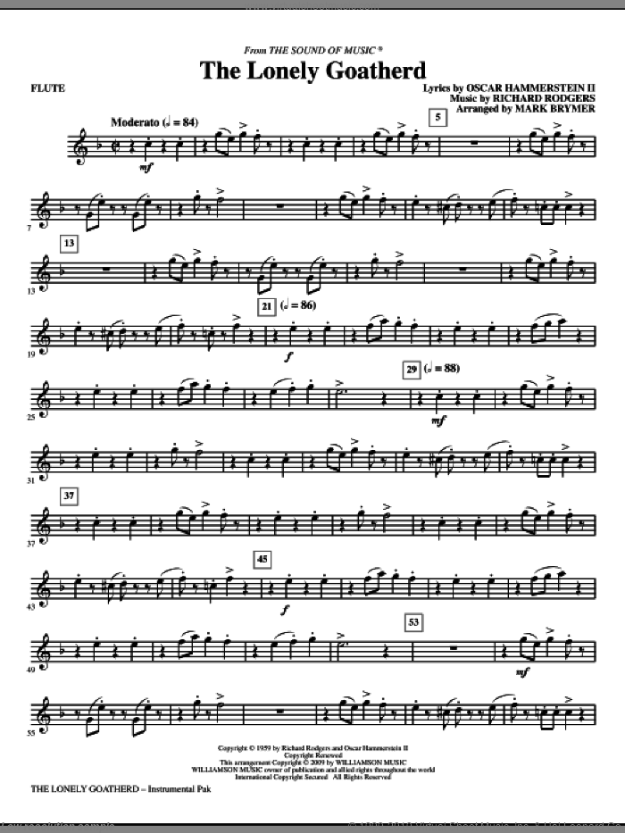 The Lonely Goatherd (complete set of parts) sheet music for orchestra/band (Strings) by Richard Rodgers, Oscar II Hammerstein and Mark Brymer, intermediate skill level