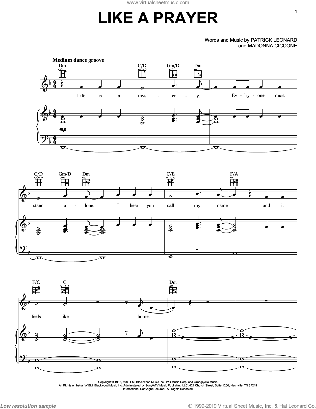 Like A Prayer sheet music for voice, piano or guitar by Patrick Leonard and Madonna. Score Image Preview.
