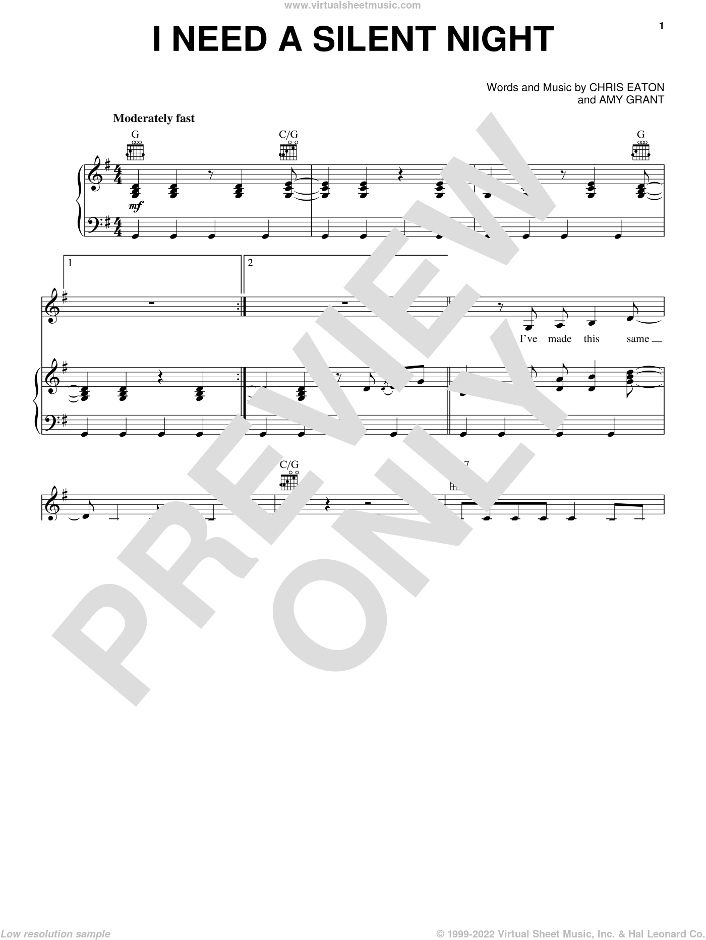 I Need A Silent Night sheet music for voice, piano or guitar by Chris Eaton