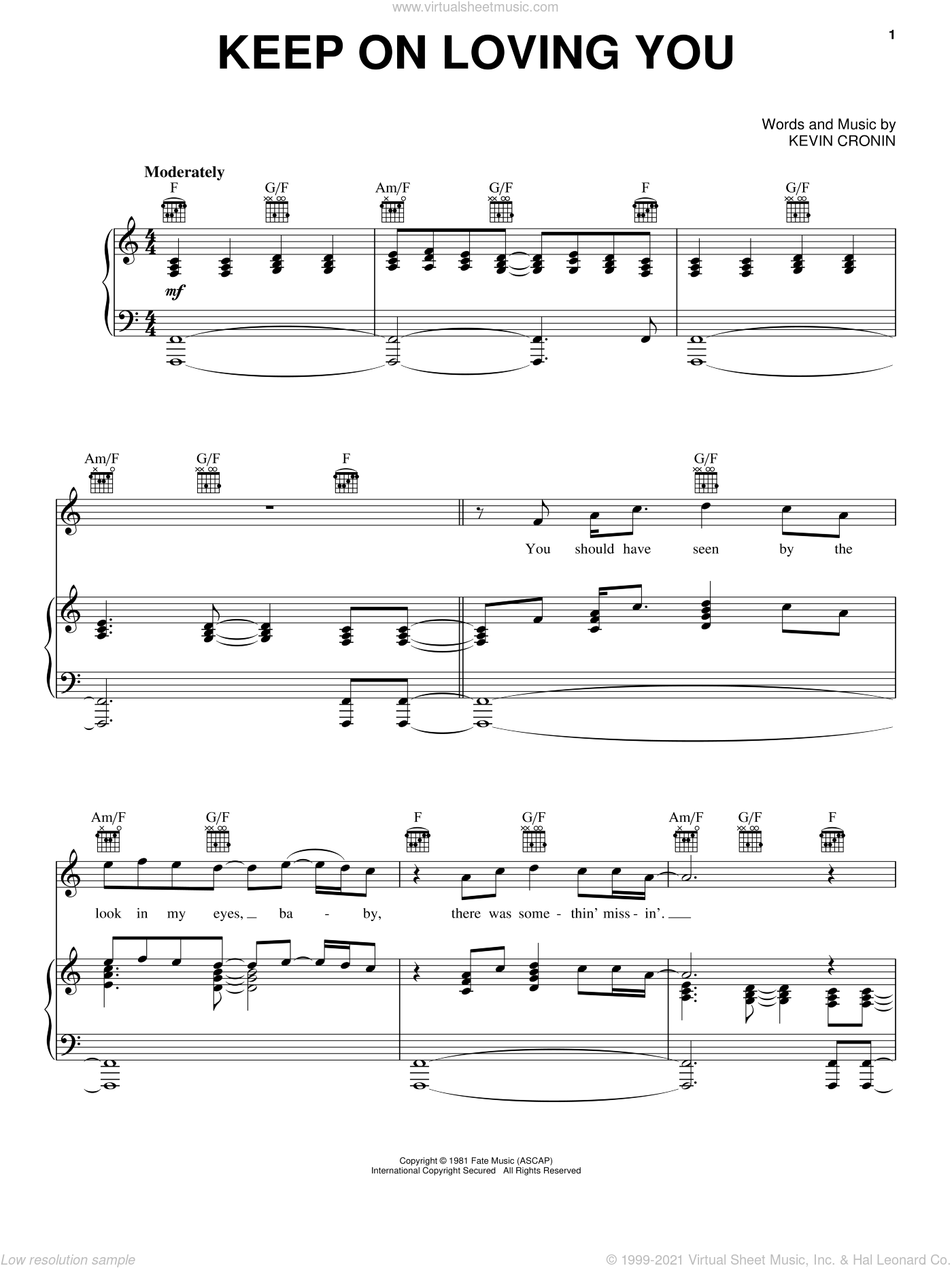 Keep On Loving You sheet music for voice, piano or guitar by REO Speedwagon, Rock Of Ages (Musical) and Kevin Cronin, intermediate skill level