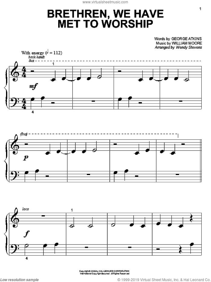 Brethren, We Have Met To Worship sheet music for piano solo (big note book) by William Moore and Wendy Stevens. Score Image Preview.