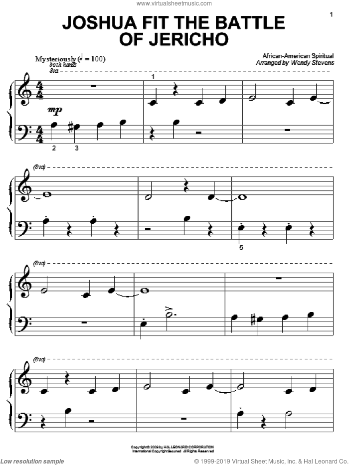 Joshua (Fit The Battle Of Jericho) sheet music for piano solo (big note book)  and Wendy Stevens. Score Image Preview.